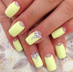 Half moon nails 2016, Half-moon nails ideas, Half-moon nails with strass, Monophonic nails, Nails for summer, Nails with strass ideas, Solar nails, Spring-summer nails 2016