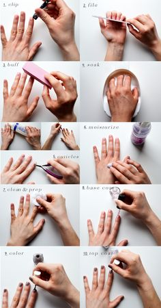 Super Manicure And Pedicure At Home Nail Care Ideas How To Do Manicure, Manicure Steps, Manicure Y Pedicure, Mani Pedi, Pedicure Kit, How To Paint Nails, How To Shape Nails, Nail Painting Tips, Pedicure Soak