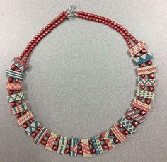 Cute colors with carrier beads. I like the matte Czech beads and larger on the outside and smaller on the inside. PDF Patterns saved.
