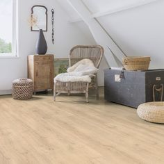 Impressive Ultra Range - This Quickstep laminate range emulates solid wood flooring planks using smart, bevel technology and unique finishes to create seamless edging and an elegant design. Light and airy. Natural Wood Flooring, Modern Flooring, Real Wood Floors, Solid Wood Flooring, Engineered Wood Floors, Waterproof Laminate Flooring, Oak Laminate Flooring, Vinyl Flooring, Penny Flooring