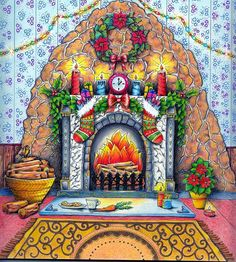 Johanna's Christmas Coloring Book- Fireplace with Christmas stockings and holly berries and candles in the living room Secret Garden Coloring Book, Coloring Book Art, Colouring Pages, Adult Coloring, Magical Christmas, Christmas Books, Christmas Stockings, Enchanted Forest Coloring Book, Johanna Basford Coloring Book