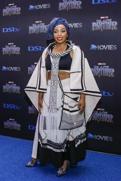 The 10 Black Panther Premiere Looks That Blew Us Away African Fashion Designers, African Men Fashion, Africa Fashion, African Fashion Dresses, African Beauty, Fashion Outfits, South African Traditional Dresses, Traditional Fashion, Traditional Outfits