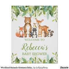 Woodland Animals Greenery Baby Shower Welcome Sign