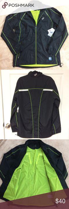 ASICS Men's Running Jacket NWT  ASICS - Big & Tall Shosha Jacket.  Black and neon green.  Fits men's size large Tall. Asics Jackets & Coats Windbreakers