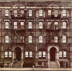 Led Zeppelin: Physical Graffiti 1975 (c) Elektra  The album's sleeve design features a photograph of a New York City tenement block, with interchanging window illustrations. The album designer, Peter Corriston, was looking for a building that was symmetrical with interesting details, that was not obstructed by other objects and would fit the square album cover. The two five-story buildings photographed for the album cover are located at 96 and 98 St. Mark's Place in New York