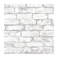 Provincial Wallcoverings 2604-21261 Brickwork Light Grey Exposed Brick Effect Wallpaper