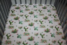 Watercolor Succulents Crib Sheet by BlueCactusThreads on Etsy