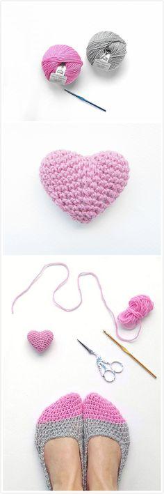 Crochet slippers & a mini heart f