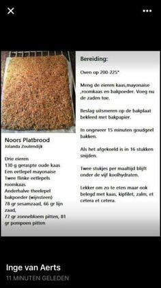 Noors platbrood Bread Recipes, Low Carb Recipes, Diet Recipes, Low Carb Bread, Keto Snacks, Crackers, Banana Bread, Easy Meals, Paleo