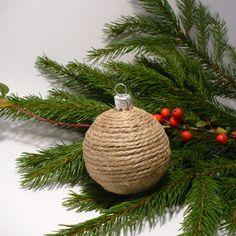 Christmas, burlap, balls