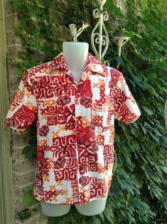 09c20c10 Mens 60s Hawaiian Shirt White Orange and Red Polynesian Cotton Shirt Evelyn  Margolis Size Small Retr
