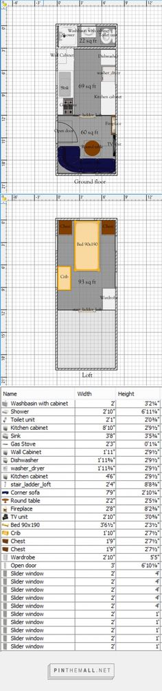 Free Tiny House Floor Plans: 8' x 20' House Plan