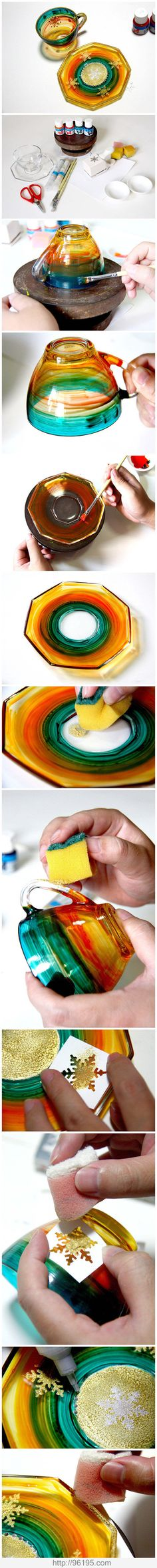 I have done reverse painting onto clear dishes. This looks sooo much easier! Very nice!