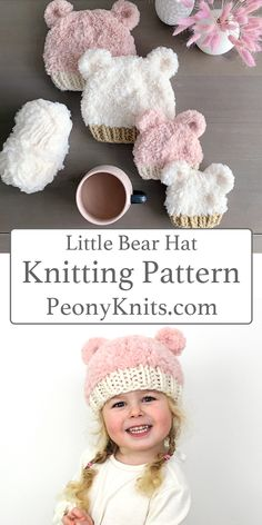 The perfect bear hat knitting pattern for the little ones in your life. Buy 3 Get 2 Baby Hat Knitting Patterns Free, Baby Hats Knitting, Knitting For Kids, Knitting Projects, Crochet Patterns, Free Pattern, Knitted Hats Kids, Crochet Hats, Beanie Pattern