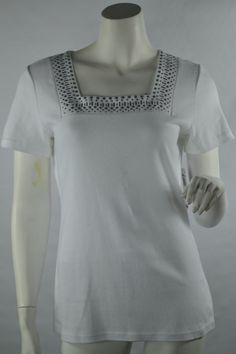 Karen Scott Knit Top Square Neck Embellished Studs Short Sleeve White Size Small #KarenScott #KnitTop #Casual