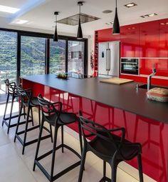 indoor kitchen with artificial stone. Grey Kitchen Walls, Red Kitchen Decor, White Kitchen Cabinets, Kitchen Sets, Kitchen Layout, Kitchen Flooring, Kitchen Countertops, Kitchen Interior, Küchen Design