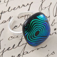 dichroic fused glass sterling silver ring with by bluedaisyglass, £15.00