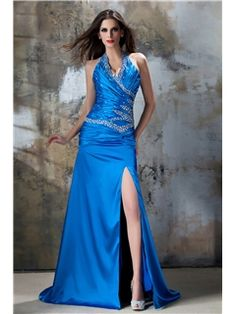 Pretty A-Line Halter Floor-Length Brush Train Empire Waistline Taline's Evening Dress