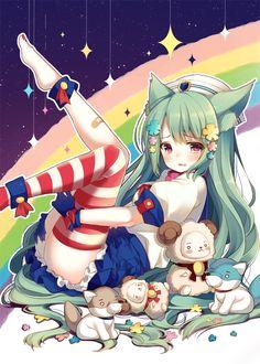 ✮ ANIME ART ✮ rainbow ♥ neko. . .cat girl. . .cat ears. . .striped socks. . .stuffed animals. . .long hair. . .flowers. . .hat. . .crying. . .tears. . .moe. . .cute. . .kawaii