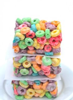 Use Fruit Loops to make these Rainbow Cereal Bars.