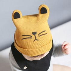 be3b2a918a5 baby hat autumn 2016 cute cat boy girl cap cartoon animal baby warm beanies  newborn caps fashion