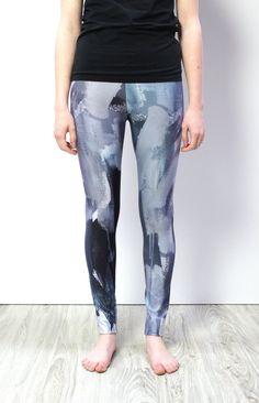 b16a101ff1 december grey leggings // unique printed leggings based on original artwork  by Megan Auman Grey