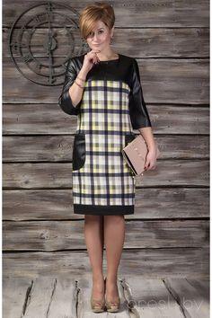 Платья, 395-5, черный с бежевыми квадратами, Erika Style