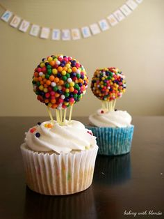 """UP Cupcakes: Pour sprinkles in shallow bowl. Cover hand in frosting & coat doughnut holes (thick) all over (like breading chicken - one hand dry ingredients, one hand wet). Roll frosting-covered holes in sprinkles, pressing as go, put in glass dish to harden. Freeze ~20min. Poke 2"""" angel hair pasta in doughnut holes, gather at bottom to a point. Push into cupcakes. *Remind guests to remove pasta before eating & careful not to break pasta into cupcake"""
