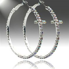 "Silvertone Aurora Borealis Crystal Studded Cross 1.4"" Hoop Earrings"