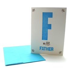 F is for Father Letterpress Alphabet Greeting Card