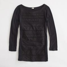 Factory long-sleeve lace-front tee