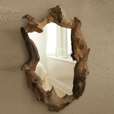 """Natural Root Mirror (each piece is unique and will vary) - Wood/Glass Material: WOOD/GLASS Dimensions: 18"""" W x 4"""" D x 27"""" H Please allow 1-2 weeks to ship out"""