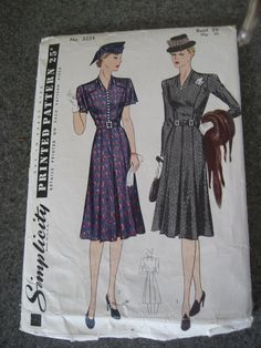 Simplicity Pattern 3224 Womens Tailored Day Dress Bust 38 Vintage 1940s