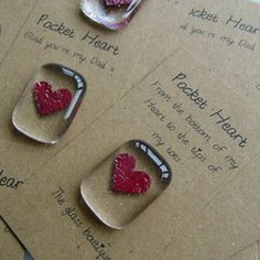 fused glass pocket heart