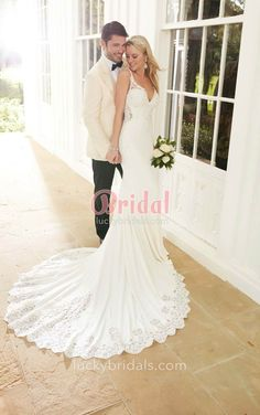 Backless V neck Fit and Flare Romantic sophisticated Wedding Dress 2