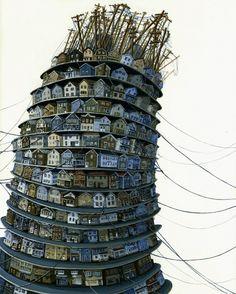 Tower by Amy Casey house, city over population themed art sculpture installation Building Illustration, Illustration Art, Street Art, Tower Of Babel, Urban Landscape, Art Plastique, Sculpture Art, Cool Art, Concept Art