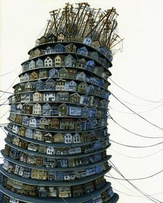 Tower by Amy Casey 3d house, city over population themed art sculpture installation
