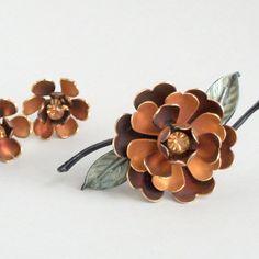 Enamel Flower Brooch Rhinestones  Coro  Brown Black by pinguim, $50.00
