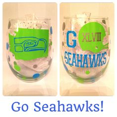 Seattle Seahawks Wine Glass Super Bowl by CreateBeautywithLove, $20.00