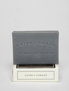 Smith & Chang General Goods - Patria Forest Bar Soap (cedarwood, bergamot and sage) contains black clay, citrus, tangerine, grapefruit, and more. yum...