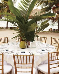 tropical greenery table top. way too tall but i do like the look.