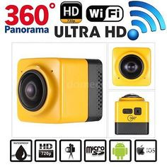 WiFi HD 360°Spherical Panorama Cam Virtual Reality VR Video Sport DV Camera A4J5…