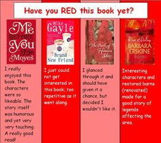 """Customer Feedback for St. Thomas Public Library's """"Have you RED these books yet?"""" display. (August 2013)"""