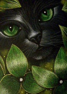Black cat - Green flowers - by artist Cyra R. Cat Eyes Drawing, Black Cat Drawing, Black Cat Painting, Black Cat Art, Black Cats, Eye Art, Art Portfolio, Cats And Kittens, Ragdoll Kittens