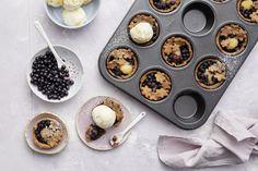Helpot vanilja-mustikkakukkoset 20 Min, Muffin, Pudding, Breakfast, Desserts, Food, Morning Coffee, Tailgate Desserts, Deserts