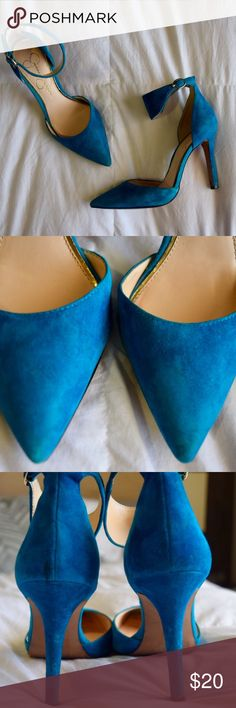 Jessica Simpson Blue Suede Heels Bought in October 2016. Worn once to a wedding. Received lots of compliments. Light scuffs on toe & heel due to wearing them while it was raining outside. I have not tried to wipe them out as I haven't worn them again. Gold buckles work perfectly. Very comfy and add color pop to any outfit! Jessica Simpson Shoes Heels