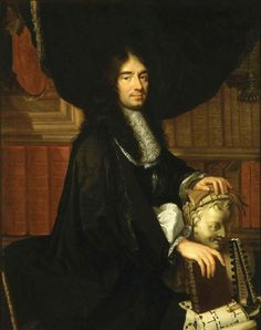 """Portrait of Charles Perrault (1628-1703), a French architect, Philippe Lallemand (1636–1716)  """"Lallemand presented this portrait on 13 May 1672, along with his Portrait of Gédéon Berbier du Mets, in order to gain admittance to the Academy. Lallemand worked from a 1665 painting of Charles Perrault by Charles Le Brun."""""""