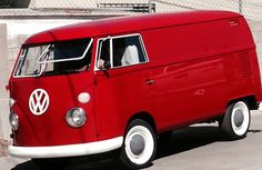 64 Red Panel VW bus