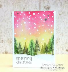 Lawn Fawn Let It Snow Christmas card (with watercolor night sky) by Samantha Mann. Stamped Christmas Cards, Christmas Cards To Make, Xmas Cards, Handmade Christmas, Holiday Cards, Christmas Crafts, Watercolor Christmas Cards, Watercolor Cards, Christmas Tree With Snow