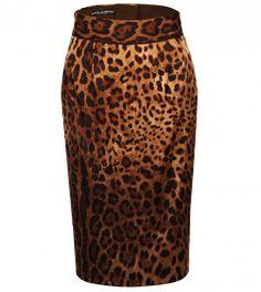 Dolce & Gabbana Leopard Print Silk High Waisted Skirt from www.profilefashion.com